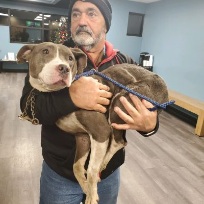 Jim Sumpter, holding a rescued dog.